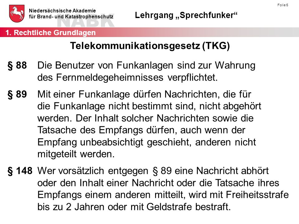 """NABK Niedersächsische Akademie für Brand- und Katastrophenschutz Lehrgang """"Sprechfunker"""" Folie 5 § 88Die Benutzer von Funkanlagen sind zur Wahrung des"""