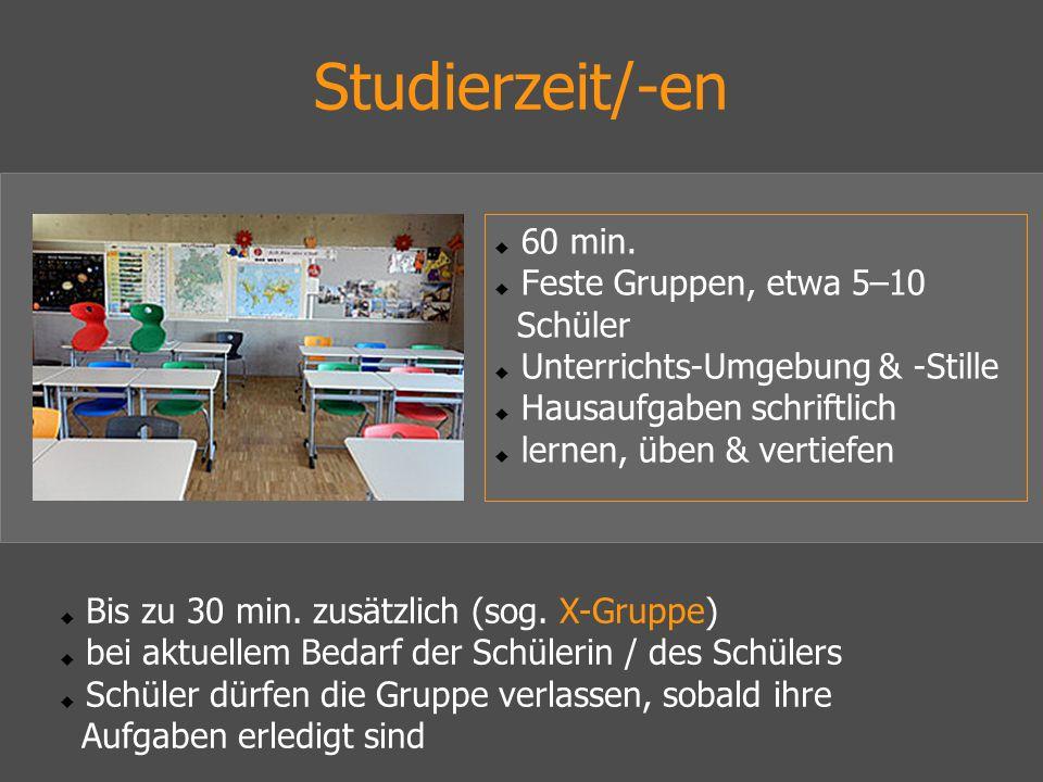 Studierzeit/-en  60 min.  Feste Gruppen, etwa 5–10 Schüler  Unterrichts-Umgebung & -Stille  Hausaufgaben schriftlich  lernen, üben & vertiefen 