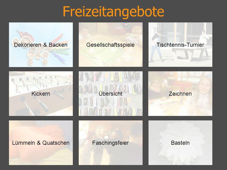 Dekorieren & Backen ZeichnenKickern Lümmeln & QuatschenFaschingsfeierBasteln Tischtennis-Turnier Übersicht Gesellschaftsspiele
