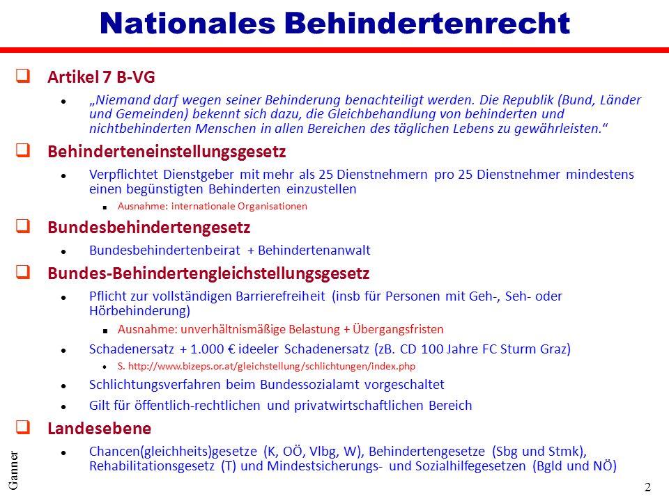 3 Ganner Allgemeines qÜbereinkommen der Vereinten Nationen über die Rechte von Menschen mit Behinderung vom 13.12.2006 l Arbeiten seit 2001 l in Österreich am 26.9.2008 ratifiziert qVölkerrechtlicher Vertrag unter Erfüllungsvorbehalt (Art.
