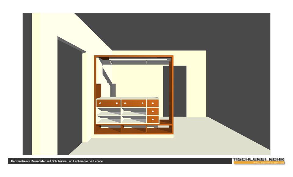 Garderobe als Raumteiler, mit Schubladen und Fächern für die Schuhe