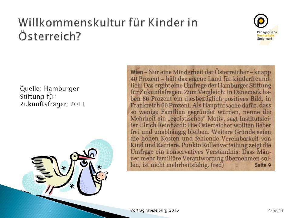 Seite 11 Quelle: Hamburger Stiftung für Zukunftsfragen 2011 Vortrag Wieselburg 2016