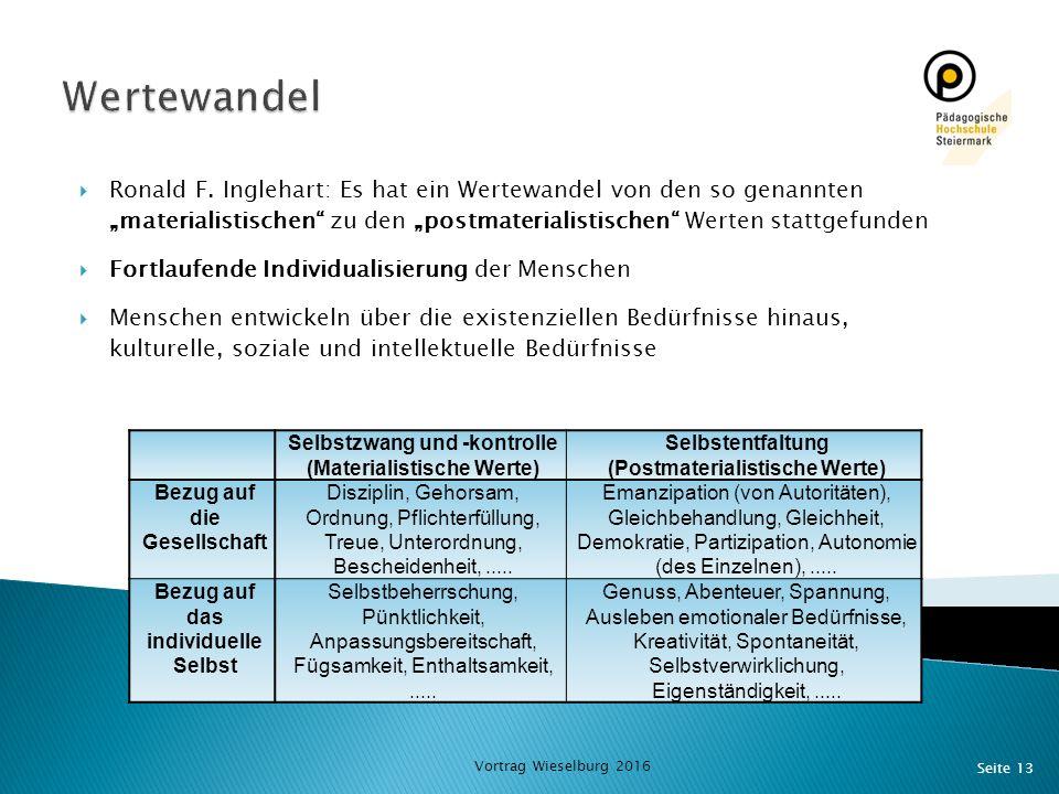 """Seite 13  Ronald F. Inglehart: Es hat ein Wertewandel von den so genannten """"materialistischen"""" zu den """"postmaterialistischen"""" Werten stattgefunden """