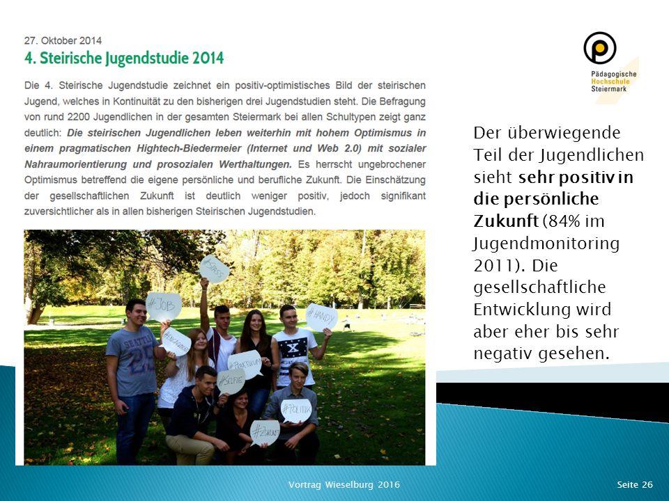Seite 26 Jugendszenen/ -kulturen Der überwiegende Teil der Jugendlichen sieht sehr positiv in die persönliche Zukunft (84% im Jugendmonitoring 2011).