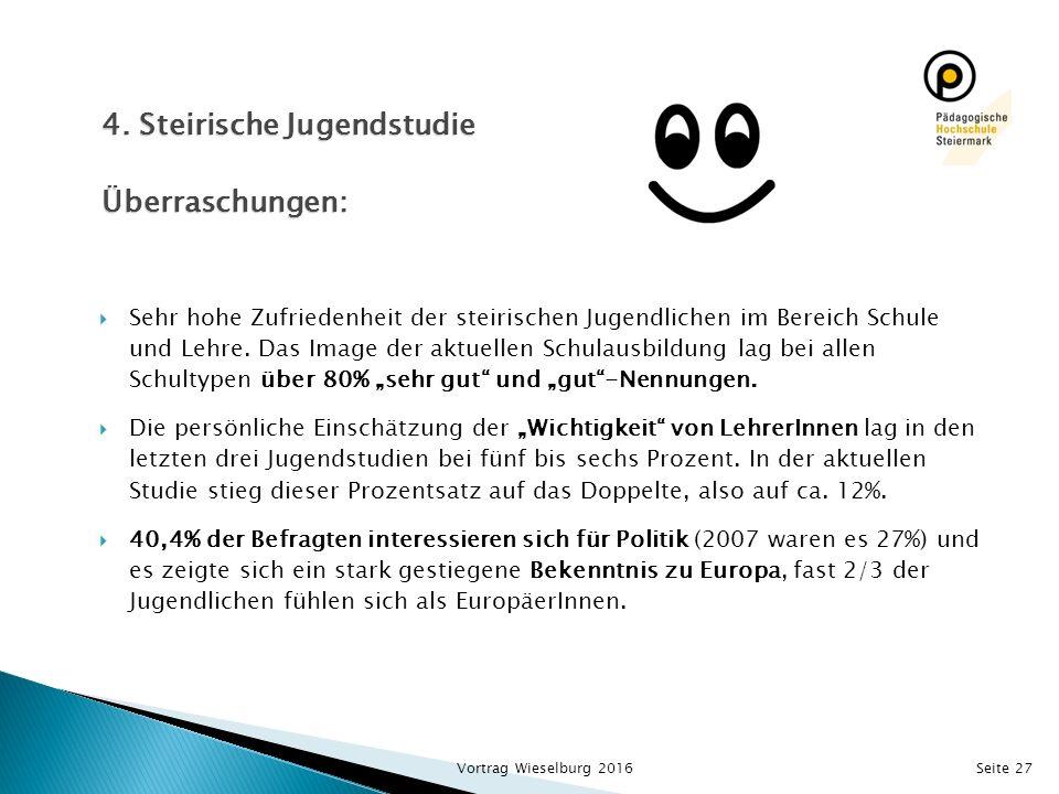 Seite 27  Sehr hohe Zufriedenheit der steirischen Jugendlichen im Bereich Schule und Lehre.