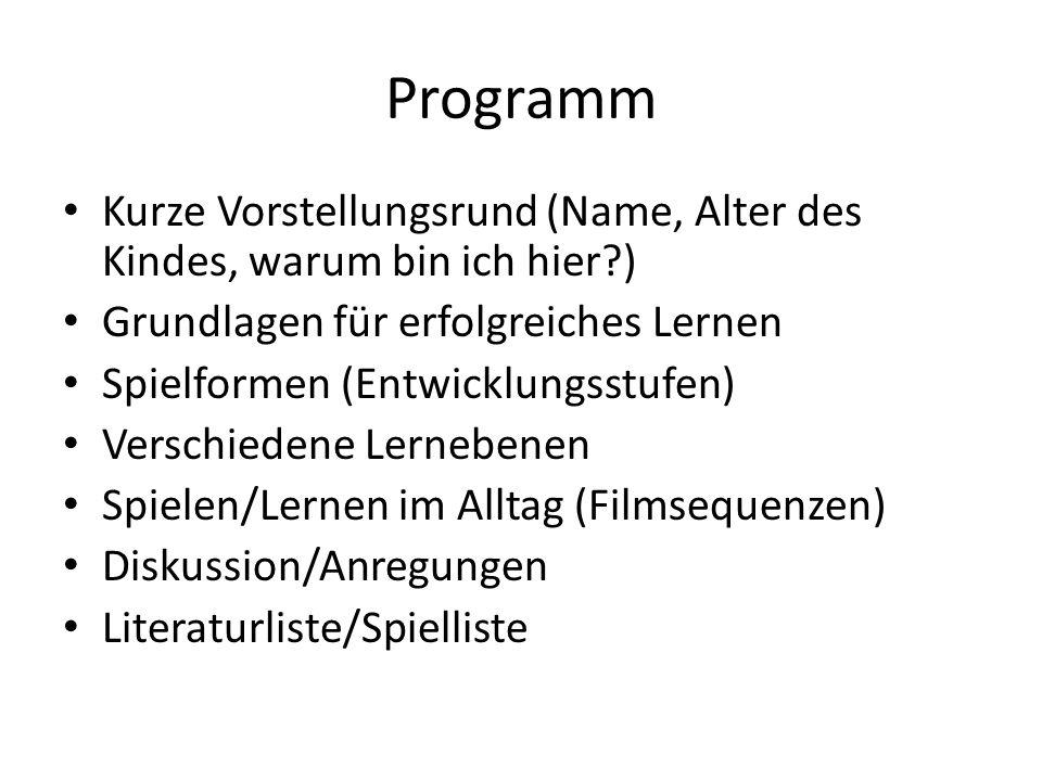 Programm Kurze Vorstellungsrund (Name, Alter des Kindes, warum bin ich hier?) Grundlagen für erfolgreiches Lernen Spielformen (Entwicklungsstufen) Ver