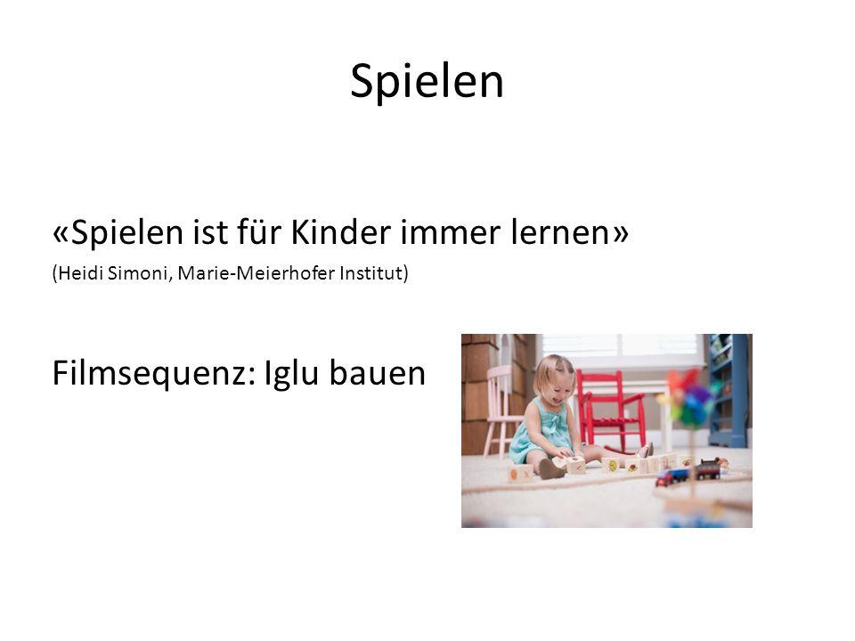 Spielen «Spielen ist für Kinder immer lernen» (Heidi Simoni, Marie-Meierhofer Institut) Filmsequenz: Iglu bauen