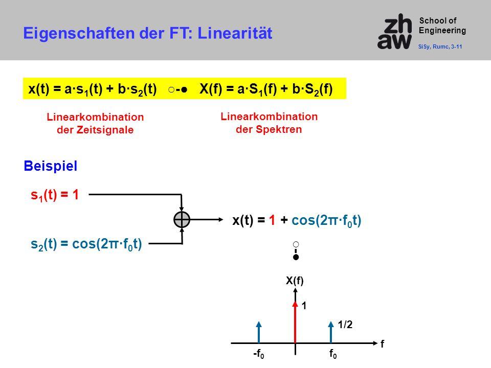 School of Engineering x(t) = a·s 1 (t) + b·s 2 (t) ○-● X(f) = a·S 1 (f) + b·S 2 (f) Eigenschaften der FT: Linearität SiSy, Rumc, 3-11 Beispiel ○-● s 1