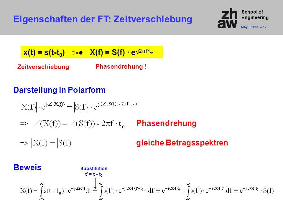 School of Engineering Eigenschaften der FT: Zeitverschiebung SiSy, Rumc, 3-12 x(t) = s(t-t 0 ) ○-● X(f) = S(f) · e -j2πf·t o gleiche Betragsspektren D