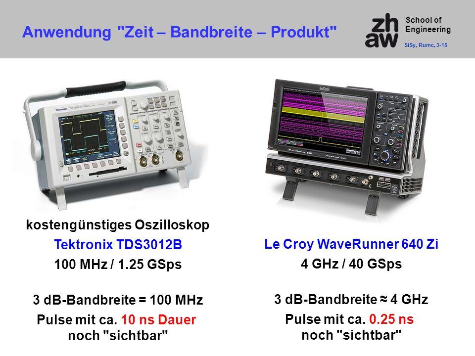 School of Engineering kostengünstiges Oszilloskop Tektronix TDS3012B 100 MHz / 1.25 GSps 3 dB-Bandbreite = 100 MHz Pulse mit ca. 10 ns Dauer noch