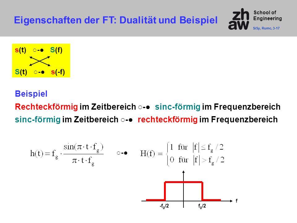 School of Engineering s(t) ○-● S(f) S(t) ○-● s(-f) Beispiel Rechteckförmig im Zeitbereich ○-● sinc-förmig im Frequenzbereich sinc-förmig im Zeitbereic
