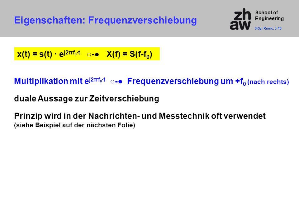 School of Engineering Multiplikation mit e j2πf 0 ·t ○-● Frequenzverschiebung um +f 0 (nach rechts) duale Aussage zur Zeitverschiebung Prinzip wird in