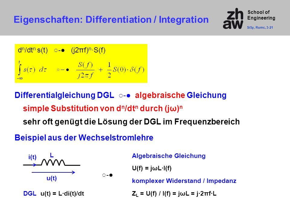 School of Engineering d n /dt n s(t) ○-● (j2πf) n ·S(f) Beispiel aus der Wechselstromlehre Eigenschaften: Differentiation / Integration SiSy, Rumc, 3-
