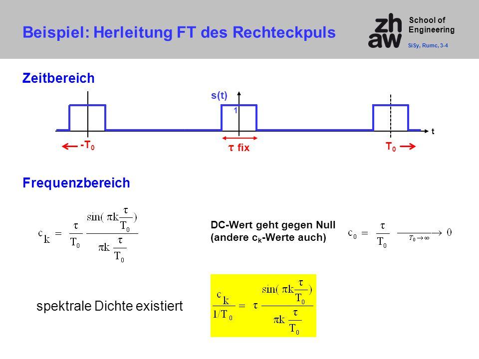 School of Engineering Zeitbereich spektrale Dichte existiert t T0T0 s(t) 1 τ fix -T 0 DC-Wert geht gegen Null (andere c k -Werte auch) Beispiel: Herle