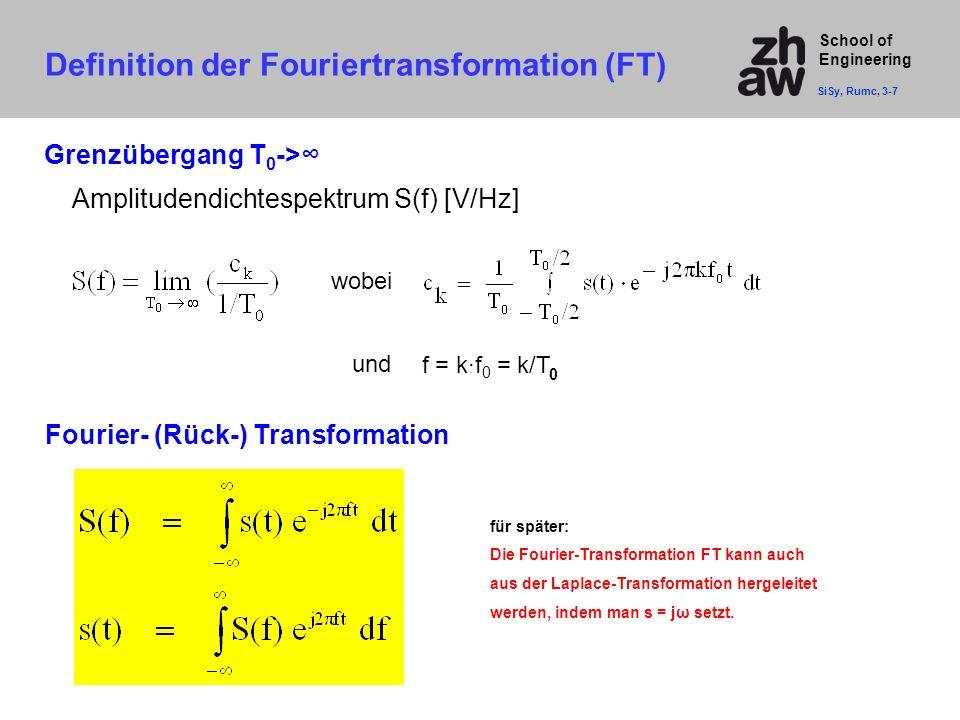 School of Engineering Fourier- (Rück-) Transformation Grenzübergang T 0 ->∞ Amplitudendichtespektrum S(f) [V/Hz] wobei f = k·f 0 = k/T und für später: