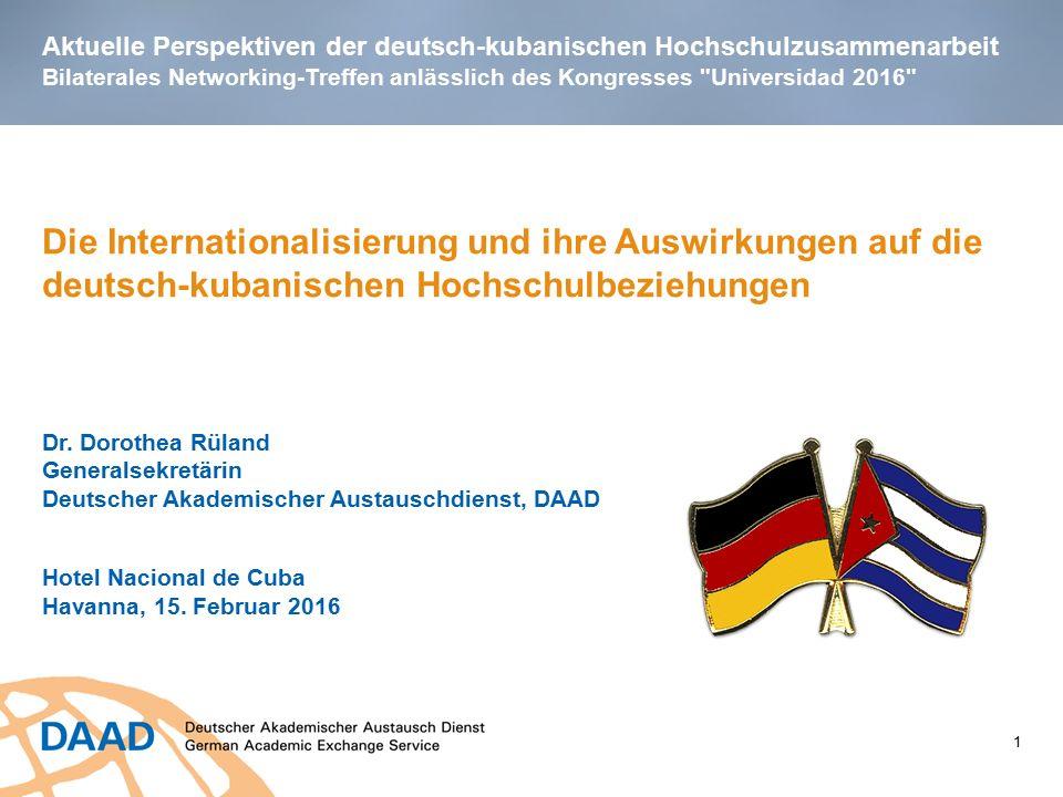 Aktuelle Perspektiven der deutsch-kubanischen Hochschulzusammenarbeit Bilaterales Networking-Treffen anlässlich des Kongresses