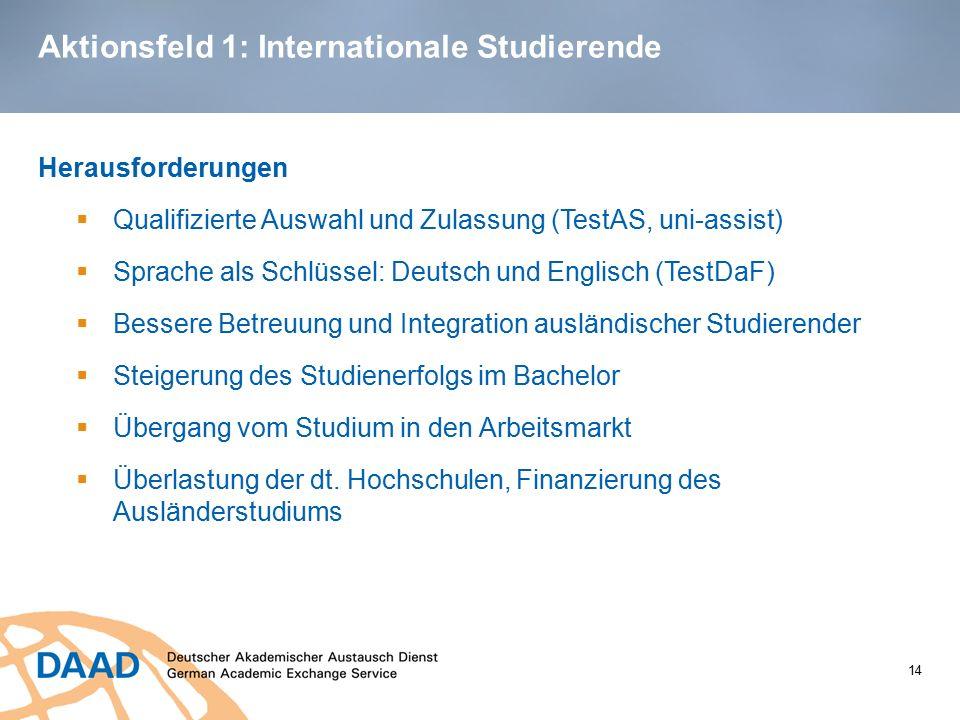 Aktionsfeld 1: Internationale Studierende Herausforderungen  Qualifizierte Auswahl und Zulassung (TestAS, uni-assist)  Sprache als Schlüssel: Deutsc