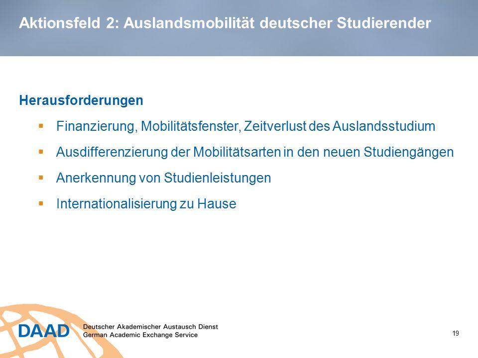 Aktionsfeld 2: Auslandsmobilität deutscher Studierender Herausforderungen  Finanzierung, Mobilitätsfenster, Zeitverlust des Auslandsstudium  Ausdiff