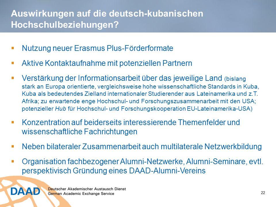 Auswirkungen auf die deutsch-kubanischen Hochschulbeziehungen?  Nutzung neuer Erasmus Plus-Förderformate  Aktive Kontaktaufnahme mit potenziellen Pa