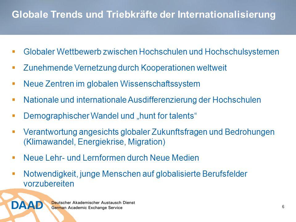 Globale Trends und Triebkräfte der Internationalisierung 6  Globaler Wettbewerb zwischen Hochschulen und Hochschulsystemen  Zunehmende Vernetzung du