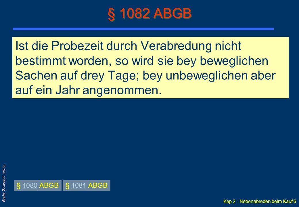 Kap 2 - Nebenabreden beim Kauf 7 Barta: Zivilrecht online II.