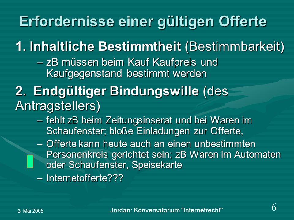 3. Mai 2005 Jordan: Konversatorium Internetrecht 6 Erfordernisse einer gültigen Offerte 1.