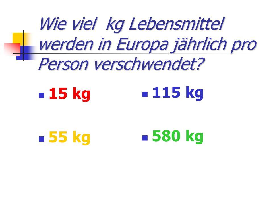 Wie viel kg Lebensmittel werden in Europa jährlich pro Person verschwendet.