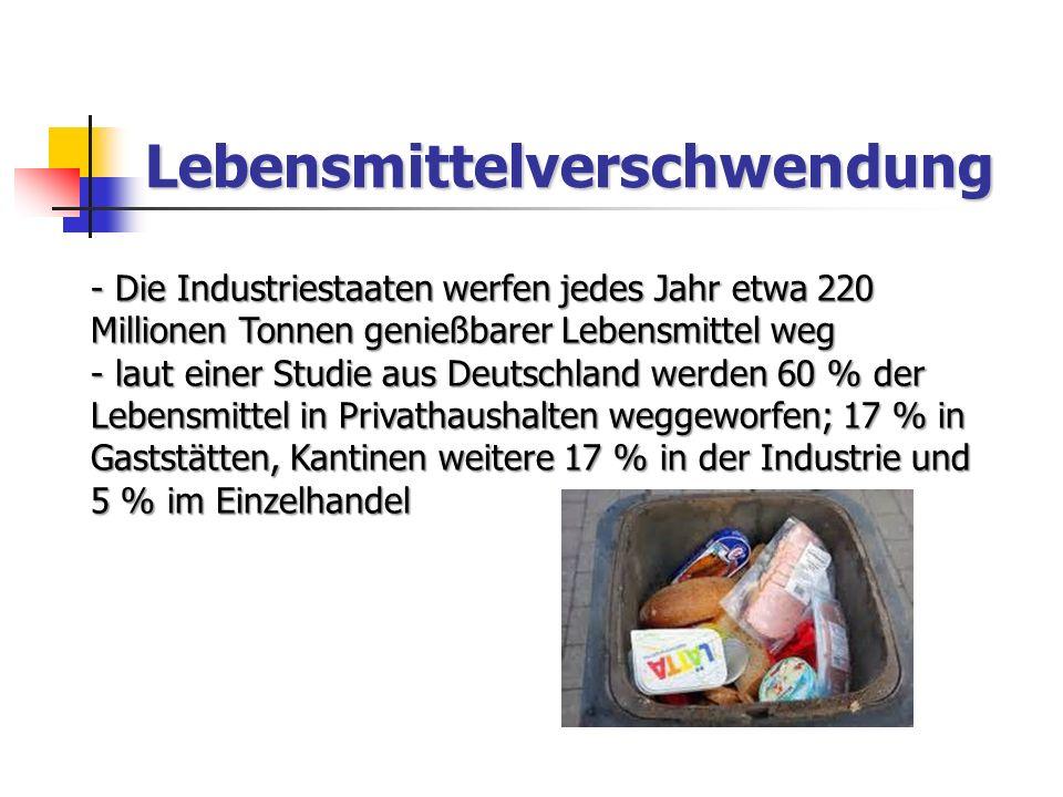 Lebensmittelverschwendung - Die Industriestaaten werfen jedes Jahr etwa 220 Millionen Tonnen genießbarer Lebensmittel weg - laut einer Studie aus Deutschland werden 60 % der Lebensmittel in Privathaushalten weggeworfen; 17 % in Gaststätten, Kantinen weitere 17 % in der Industrie und 5 % im Einzelhandel