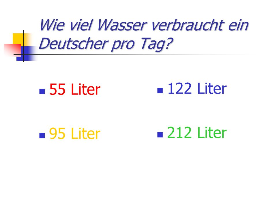 Wasserverbrauch in Deutschland -36 % für Duschen, Baden etc.
