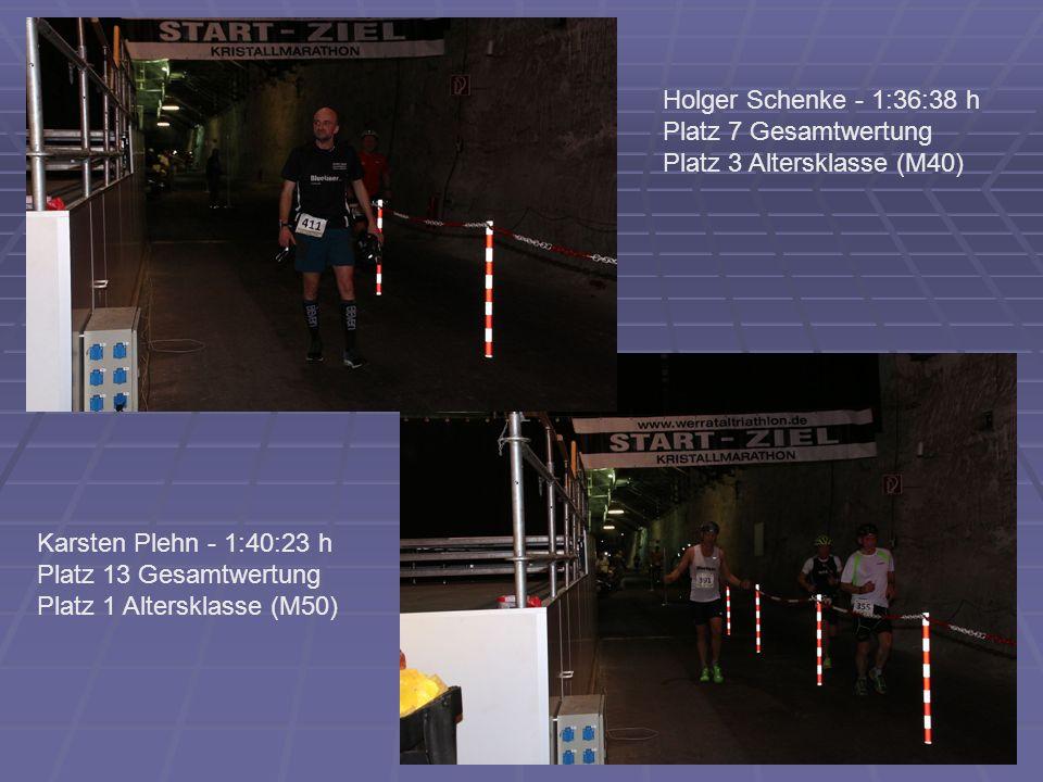 Holger Schenke - 1:36:38 h Platz 7 Gesamtwertung Platz 3 Altersklasse (M40) Karsten Plehn - 1:40:23 h Platz 13 Gesamtwertung Platz 1 Altersklasse (M50)