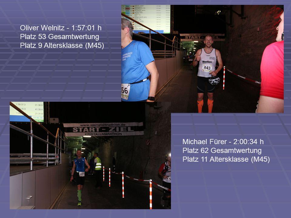 Michael Fürer - 2:00:34 h Platz 62 Gesamtwertung Platz 11 Altersklasse (M45) Oliver Welnitz - 1:57:01 h Platz 53 Gesamtwertung Platz 9 Altersklasse (M45)