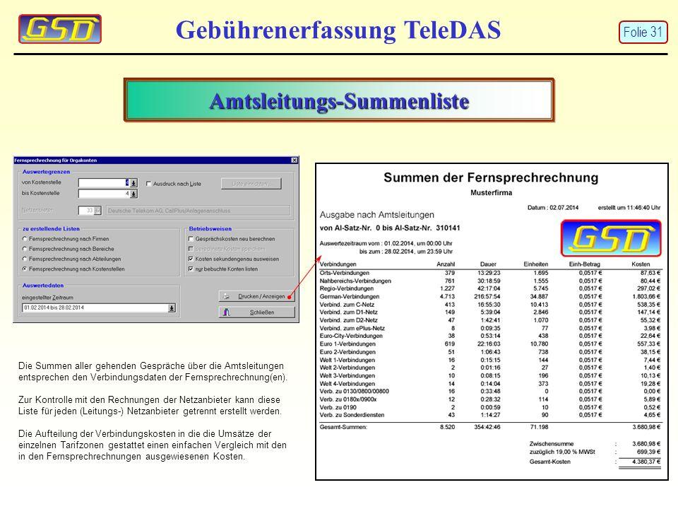 Amtsleitungs-Summenliste Gebührenerfassung TeleDAS Die Summen aller gehenden Gespräche über die Amtsleitungen entsprechen den Verbindungsdaten der Fernsprechrechnung(en).