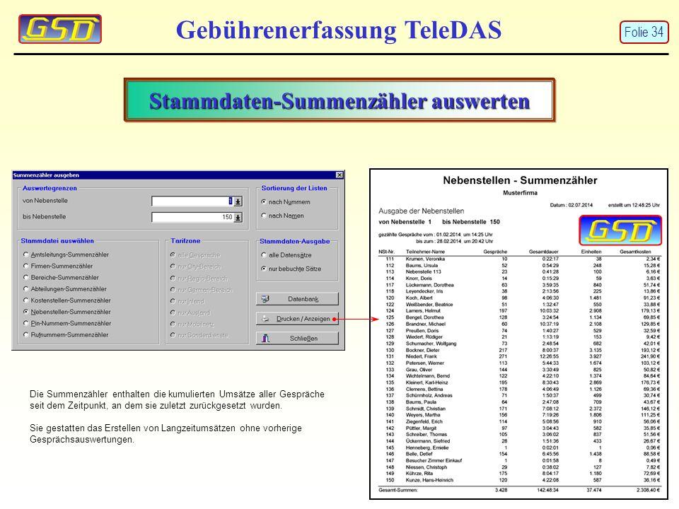Stammdaten-Summenzähler auswerten Gebührenerfassung TeleDAS Die Summenzähler enthalten die kumulierten Umsätze aller Gespräche seit dem Zeitpunkt, an dem sie zuletzt zurückgesetzt wurden.