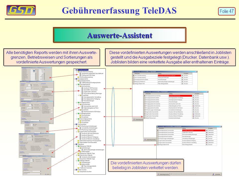 Gebührenerfassung TeleDAS Auswerte-Assistent Alle benötigten Reports werden mit ihren Auswerte- grenzen, Betriebsweisen und Sortierungen als vordefinierte Auswertungen gespeichert.