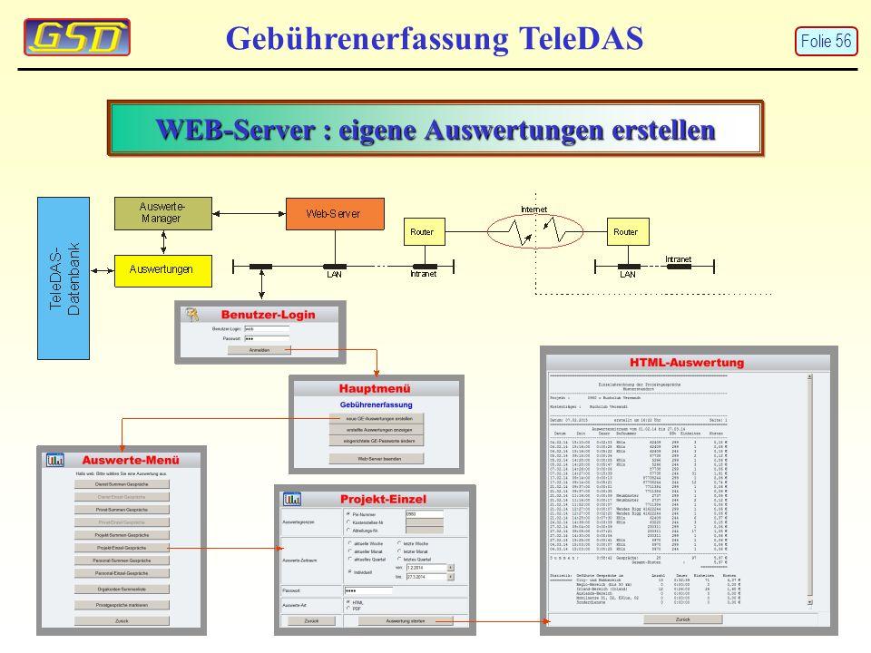 WEB-Server : eigene Auswertungen erstellen Gebührenerfassung TeleDAS Folie 56