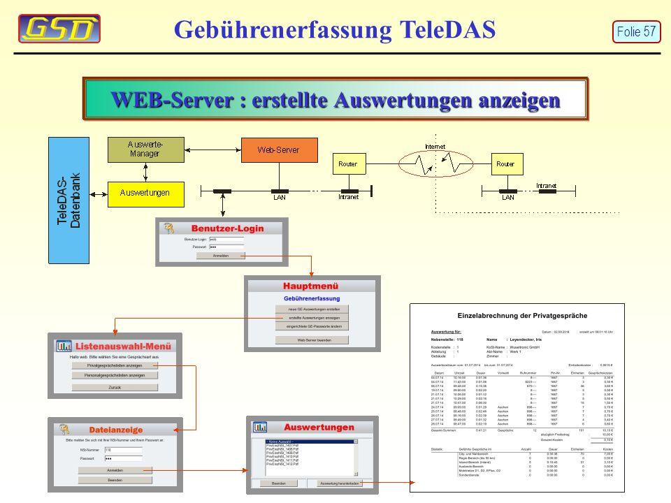 WEB-Server : erstellte Auswertungen anzeigen Gebührenerfassung TeleDAS Folie 57