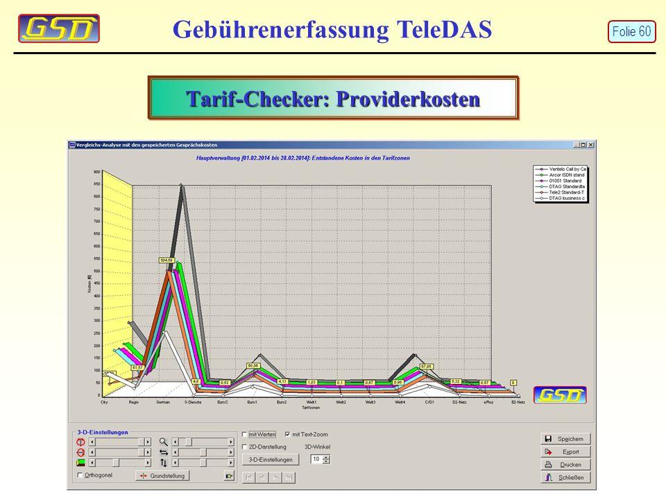 Gebührenerfassung TeleDAS Tarif-Checker: Providerkosten Folie 60