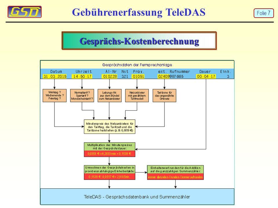 Gebührenerfassung TeleDAS Organisation Gebührenerfassung Folie 8