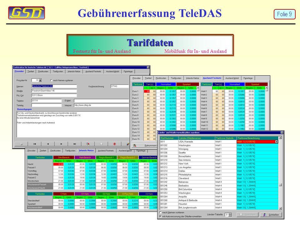 Gebührenerfassung TeleDAS Tarifdaten Tarifdaten Festnetz für In- und Ausland Mobilfunk für In- und Ausland Folie 9