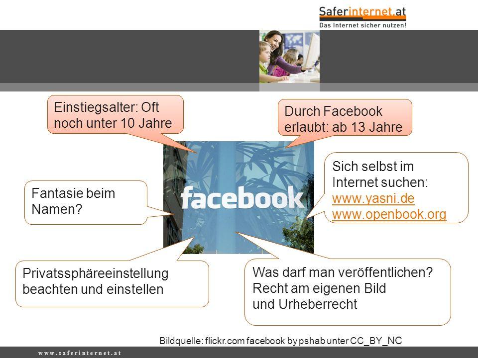 w w w. s a f e r i n t e r n e t. a t Durch Facebook erlaubt: ab 13 Jahre Sich selbst im Internet suchen: www.yasni.de www.openbook.org Was darf man v