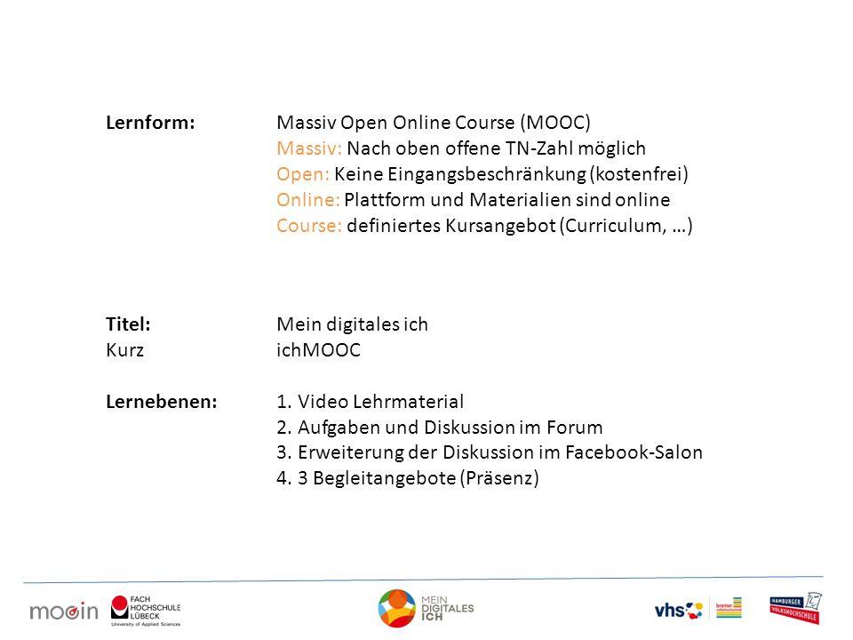 Lernform:Massiv Open Online Course (MOOC) Massiv: Nach oben offene TN-Zahl möglich Open: Keine Eingangsbeschränkung (kostenfrei) Online: Plattform und Materialien sind online Course: definiertes Kursangebot (Curriculum, …) Titel:Mein digitales ich KurzichMOOC Lernebenen:1.