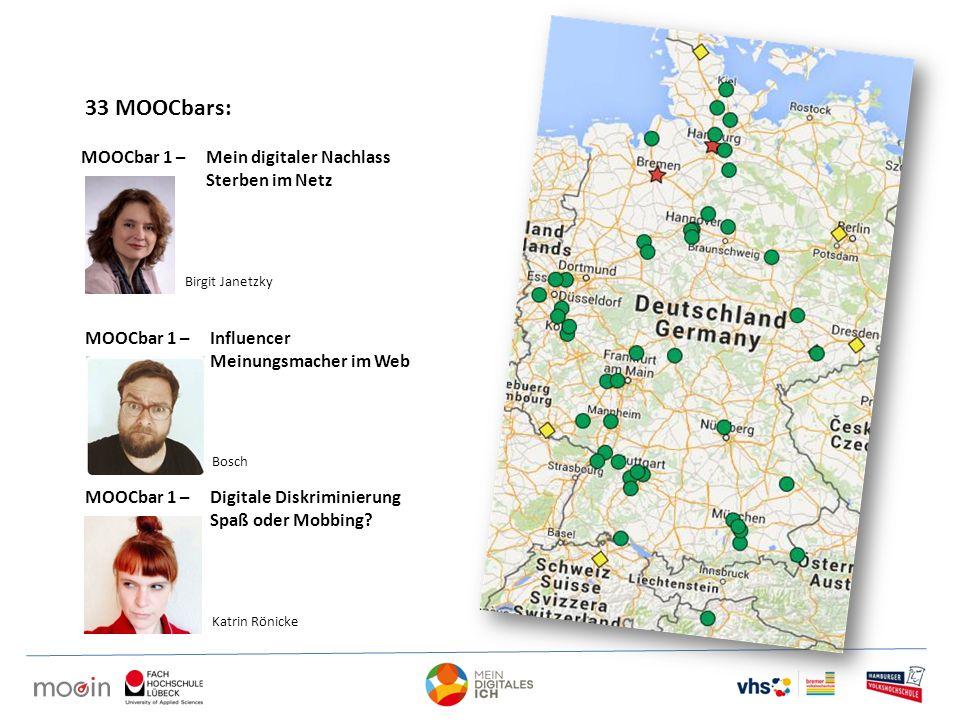 33 MOOCbars: MOOCbar 1 – Mein digitaler Nachlass Sterben im Netz MOOCbar 1 – Influencer Meinungsmacher im Web MOOCbar 1 – Digitale Diskriminierung Spaß oder Mobbing.