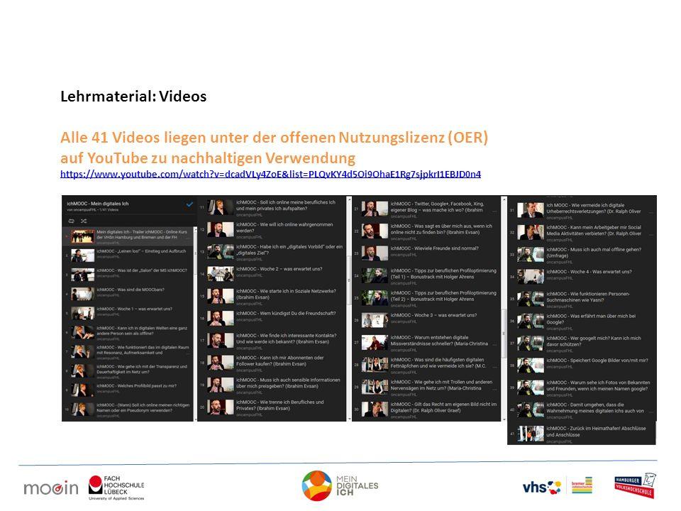 Lehrmaterial: Videos Alle 41 Videos liegen unter der offenen Nutzungslizenz (OER) auf YouTube zu nachhaltigen Verwendung https://www.youtube.com/watch?v=dcadVLy4ZoE&list=PLQvKY4d5Oi9OhaE1Rg7sjpkrI1EBJD0n4