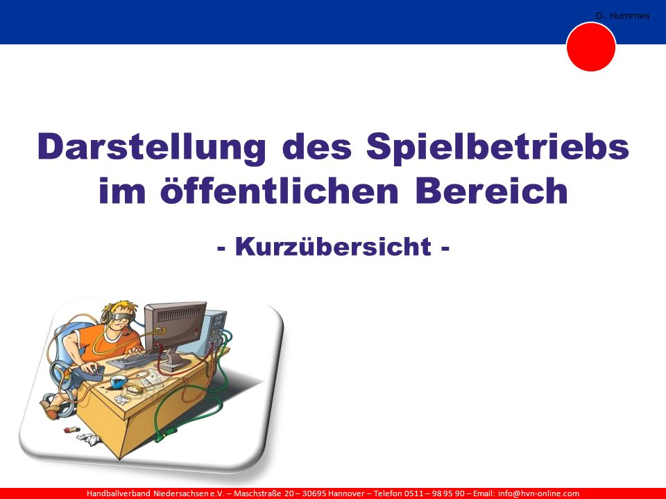 Handballverband Niedersachsen e.V. – Maschstraße 20 – 30695 Hannover – Telefon 0511 – 98 95 90 – Email: info@hvn-online.com D. Hummes Darstellung des