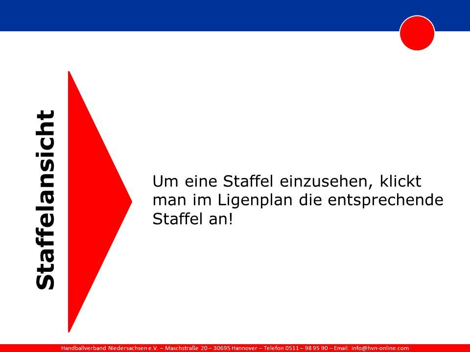 Handballverband Niedersachsen e.V. – Maschstraße 20 – 30695 Hannover – Telefon 0511 – 98 95 90 – Email: info@hvn-online.com Staffelansicht Um eine Sta