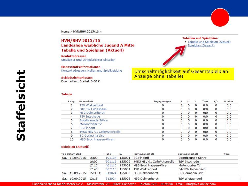 Handballverband Niedersachsen e.V. – Maschstraße 20 – 30695 Hannover – Telefon 0511 – 98 95 90 – Email: info@hvn-online.com Staffelsicht Umschaltmögli