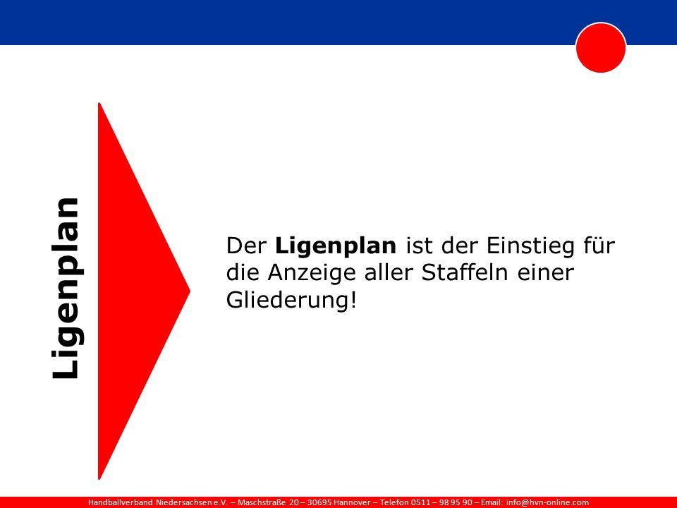 Handballverband Niedersachsen e.V. – Maschstraße 20 – 30695 Hannover – Telefon 0511 – 98 95 90 – Email: info@hvn-online.com Ligenplan Der Ligenplan is