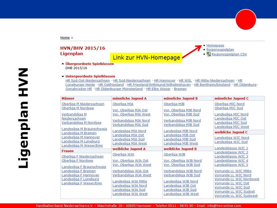 Handballverband Niedersachsen e.V. – Maschstraße 20 – 30695 Hannover – Telefon 0511 – 98 95 90 – Email: info@hvn-online.com Ligenplan HVN Link zur HVN
