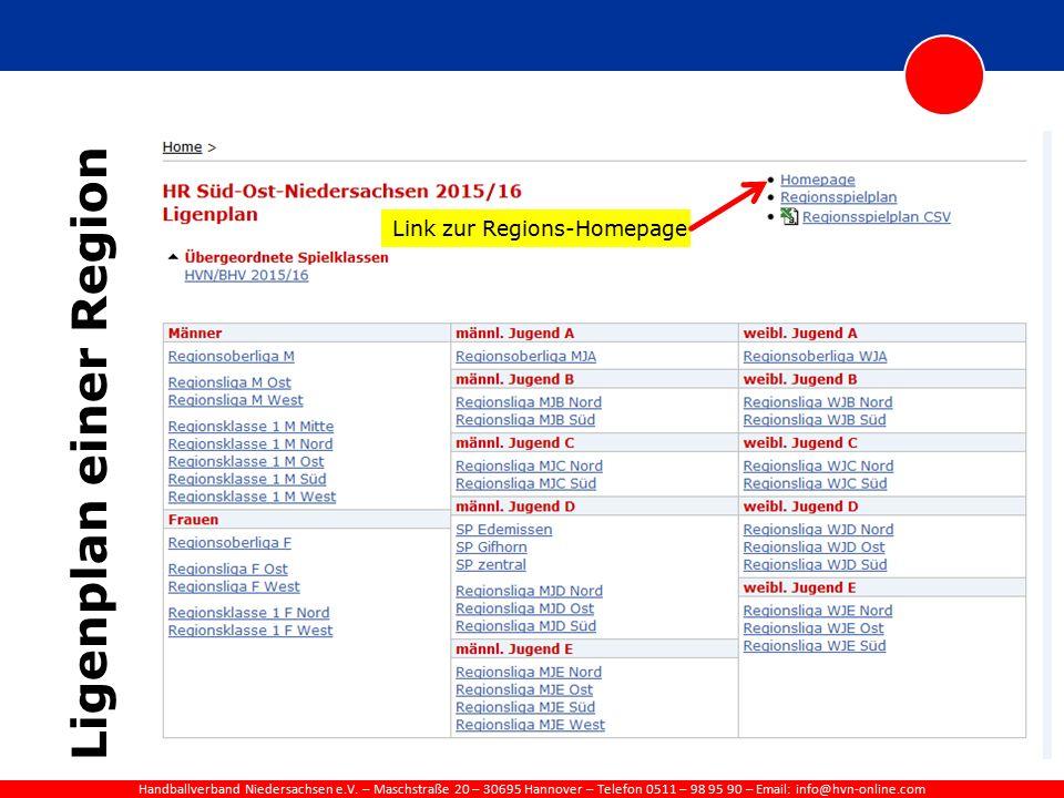 Handballverband Niedersachsen e.V. – Maschstraße 20 – 30695 Hannover – Telefon 0511 – 98 95 90 – Email: info@hvn-online.com Ligenplan einer Region Lin