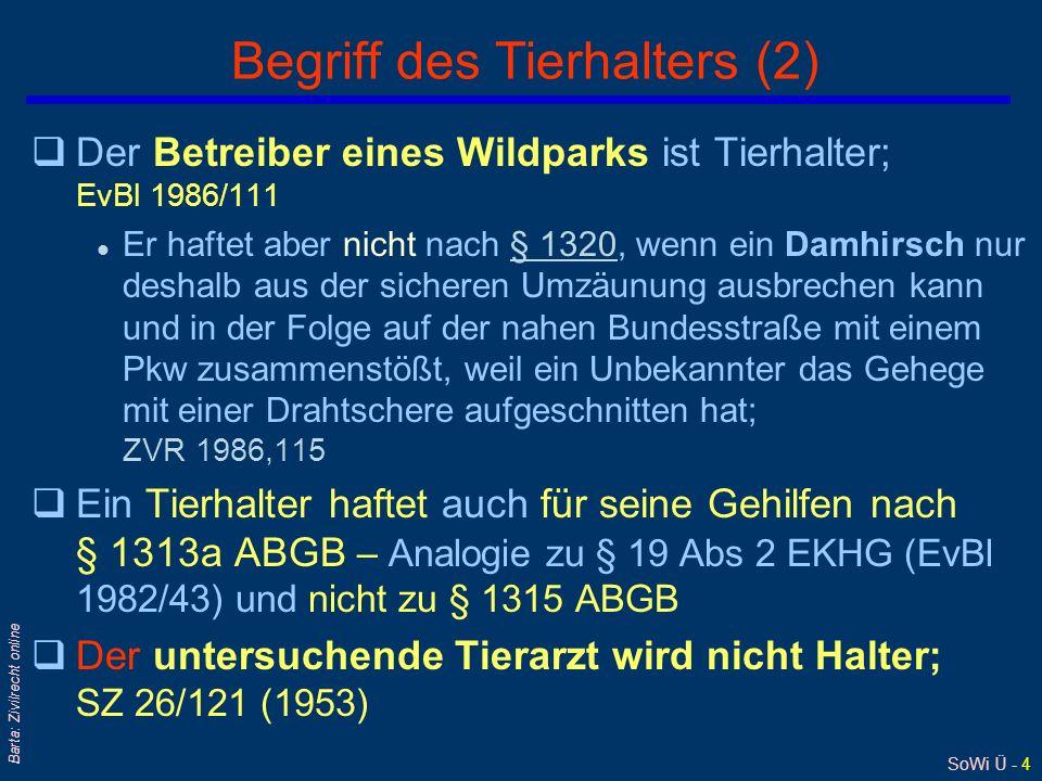 SoWi Ü - 4 Barta: Zivilrecht online Begriff des Tierhalters (2) qDer Betreiber eines Wildparks ist Tierhalter; EvBl 1986/111 l Er haftet aber nicht nach § 1320, wenn ein Damhirsch nur deshalb aus der sicheren Umzäunung ausbrechen kann und in der Folge auf der nahen Bundesstraße mit einem Pkw zusammenstößt, weil ein Unbekannter das Gehege mit einer Drahtschere aufgeschnitten hat; ZVR 1986,115§ 1320 qEin Tierhalter haftet auch für seine Gehilfen nach § 1313a ABGB – Analogie zu § 19 Abs 2 EKHG (EvBl 1982/43) und nicht zu § 1315 ABGB qDer untersuchende Tierarzt wird nicht Halter; SZ 26/121 (1953)